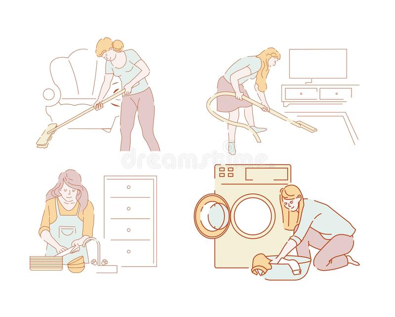 Cleaning and household chores vector women or housewives and housework. Women or housewives and housework cleaning and household chores vector hoovering and stock illustration