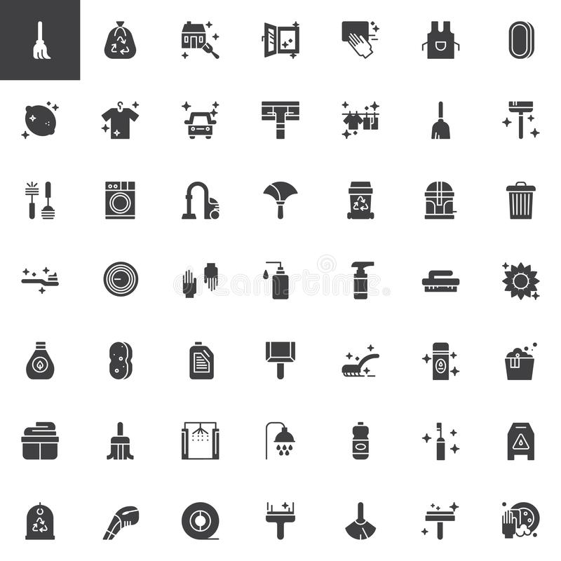 Cleaning and housekeeping vector icons set vector illustration
