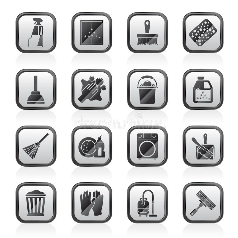 Cleaning and Hygiene icons. Vector icon set royalty free illustration