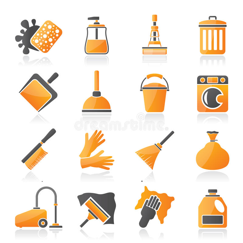 Cleaning and hygiene icons. Vector icon set stock illustration