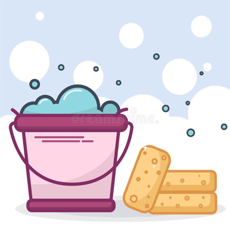 Cleaning i pralni pojęcie wiadro z mydło wodą z bąblami i czystymi gąbkami na bąbla tła wektoru bolączce białej i błękitnej ilustracji