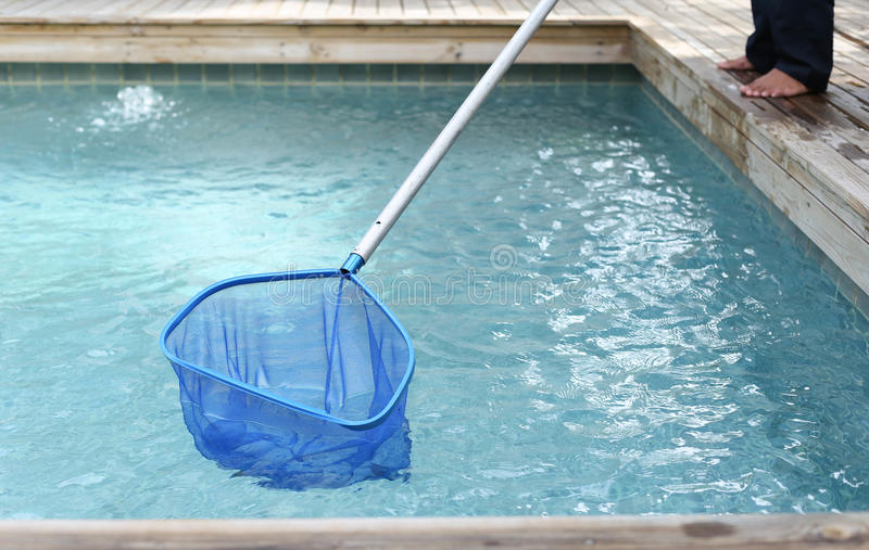 Cleaning i utrzymania pływacki basen z netto cedzakowym zdjęcie royalty free