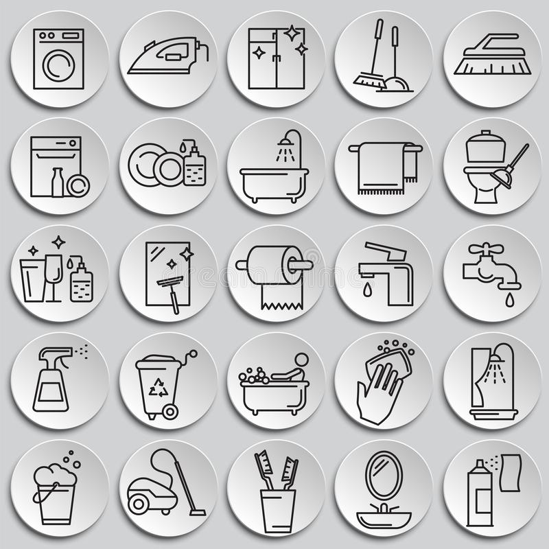 Cleaning icon set on plates background for graphic and web design, Modern simple vector sign. Internet concept. Trendy symbol for royalty free illustration