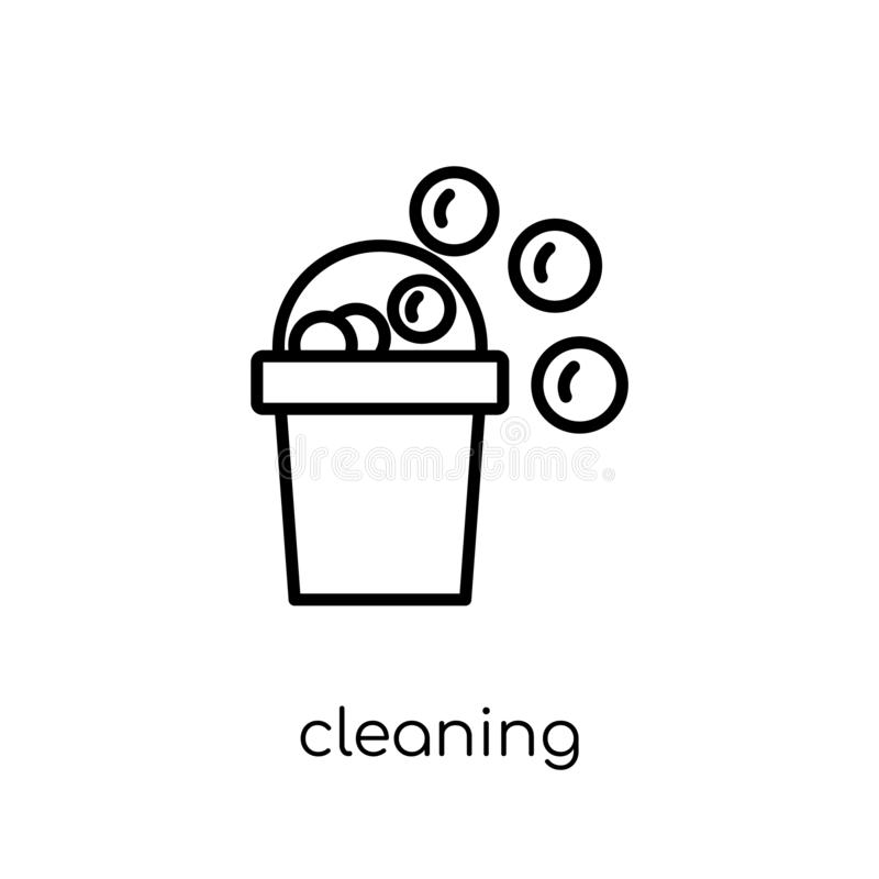 Cleaning icon. Trendy modern flat linear vector Cleaning icon on royalty free illustration