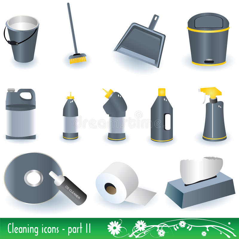 Download Cleaning Icons stock vector. Image of scrubbing, spray - 12271044