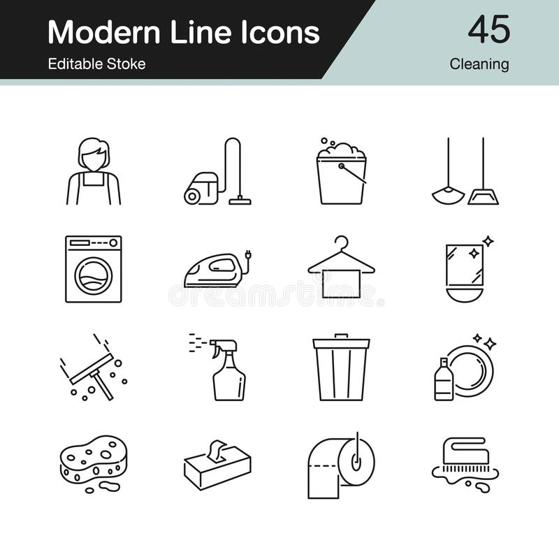 Cleaning icons. Modern line design set 45. For presentation, graphic design, mobile application, web royalty free illustration
