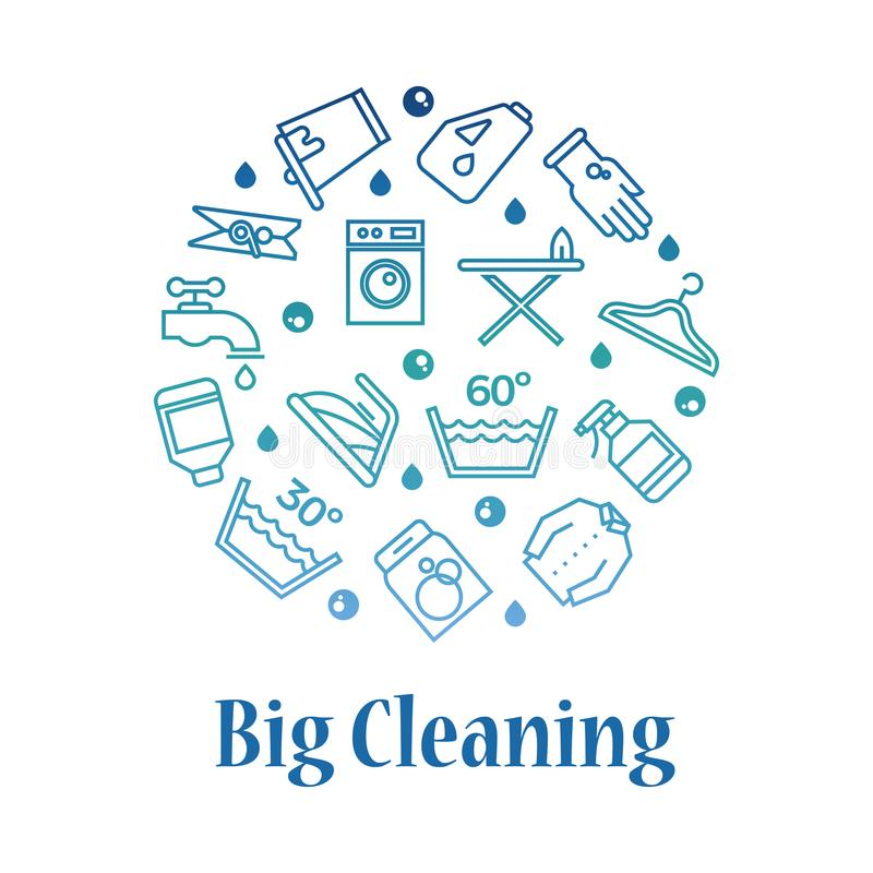 Cleaning icons round concept. Housework washing line icons royalty free illustration