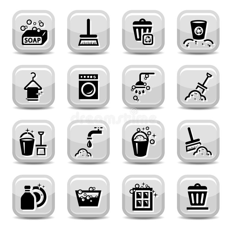 Cleaning icons set royalty free illustration