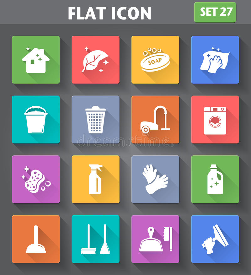 Cleaning Icons set in flat style with long shadows. Vector application Cleaning Icons set in flat style with long shadows stock illustration