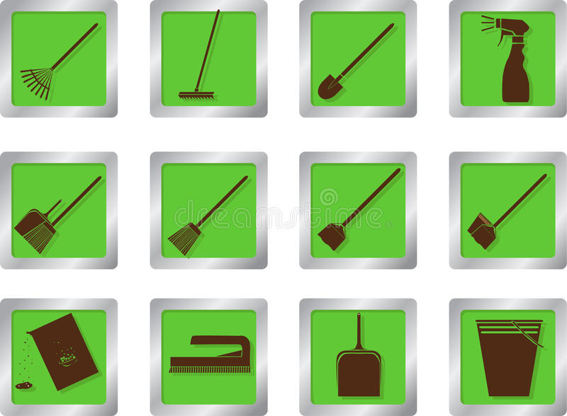 Download Cleaning Icons On Square Buttons Stock Vector - Illustration: 28306841