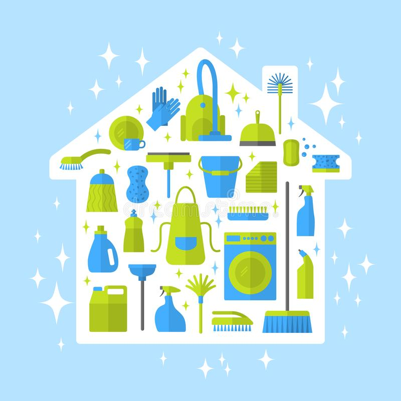 Cleaning icons. vector illustration