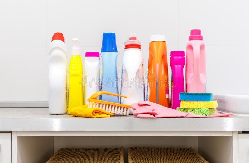 Cleaning items on the table in laundry room royalty free stock photography