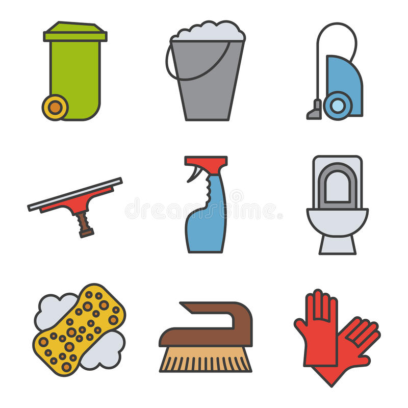 Cleaning items and tools color icons set. stock illustration
