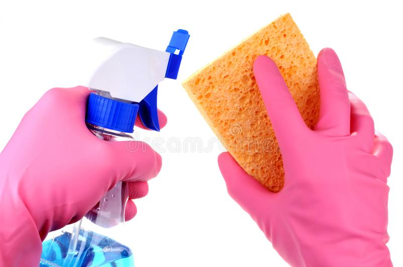 Cleaning kit in closeup on white background stock photography