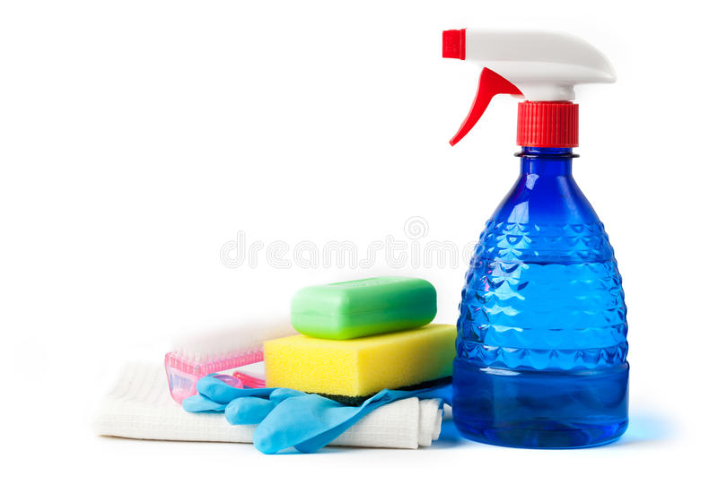 Cleaning kit isolated on white stock photos