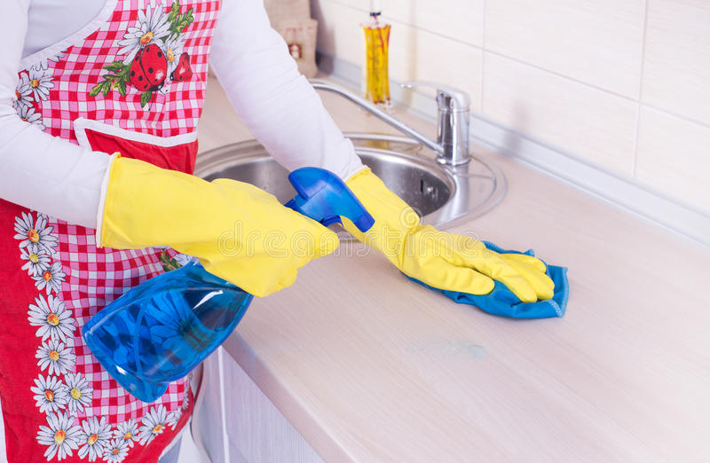Download Cleaning Kitchen Countertop Stock Image   Image Of Housewife,  Counter: 60750955
