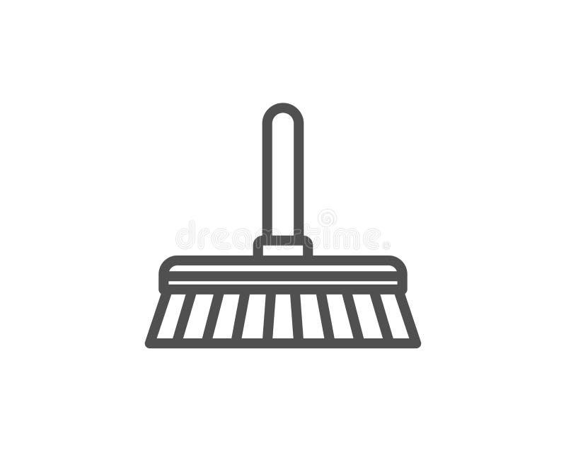 Cleaning kwacza linii ikona Zamiata podłoga royalty ilustracja