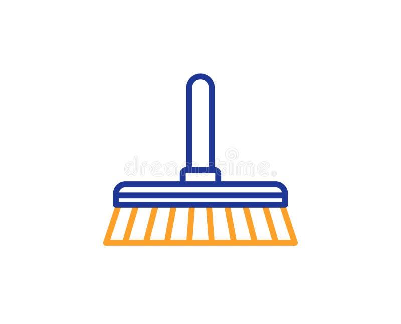 Cleaning kwacza linii ikona Zamiata podłoga wektor ilustracji