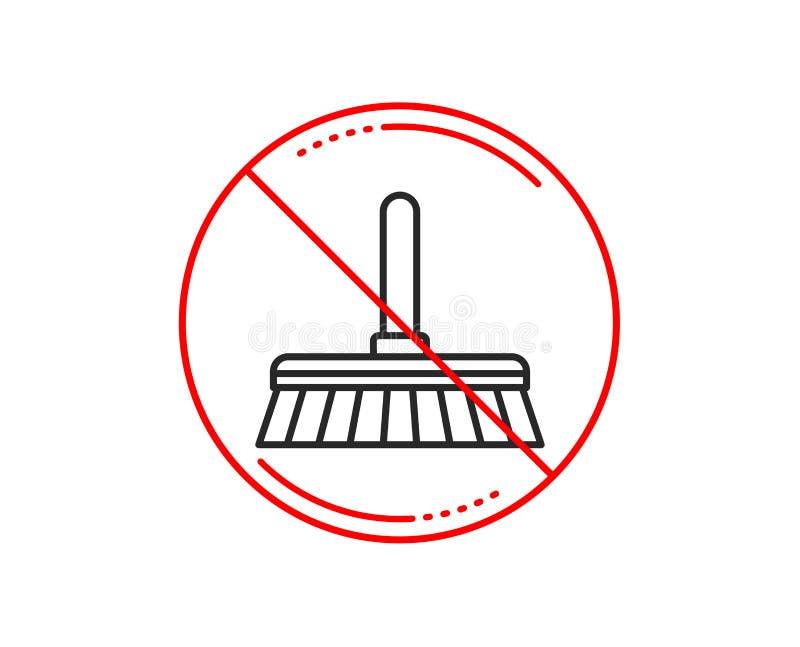 Cleaning kwacza linii ikona Zamiata podłoga wektor ilustracja wektor