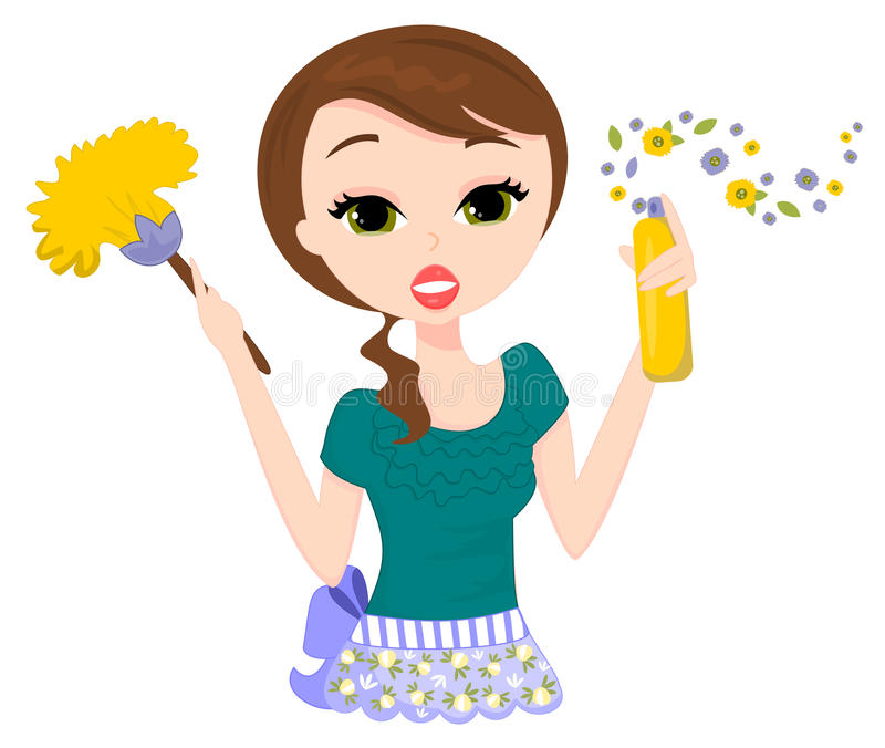 Cleaning Lady. Illustration of a plain Jane lady cleaning and spray dusting royalty free illustration