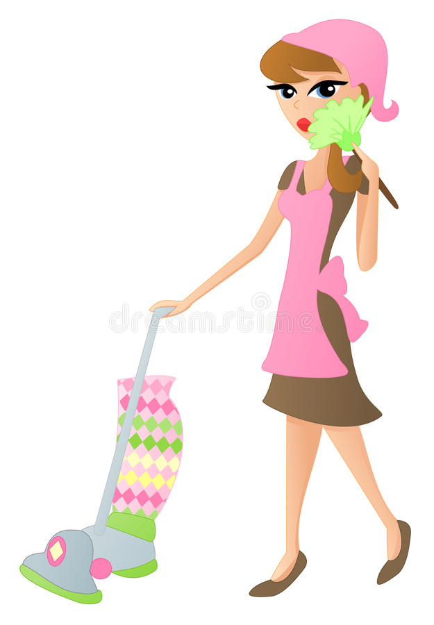 Cleaning Lady. Illustration of a plain Jane lady cleaning, vacuuming and dusting vector illustration
