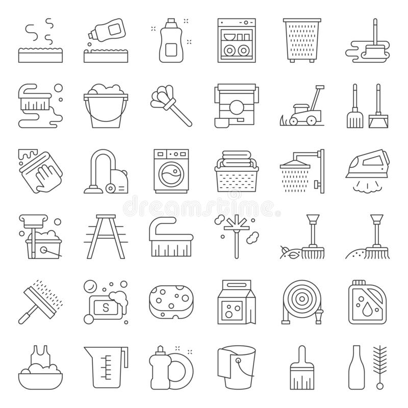 Cleaning and laundry service and equipment outline icon set stock illustration