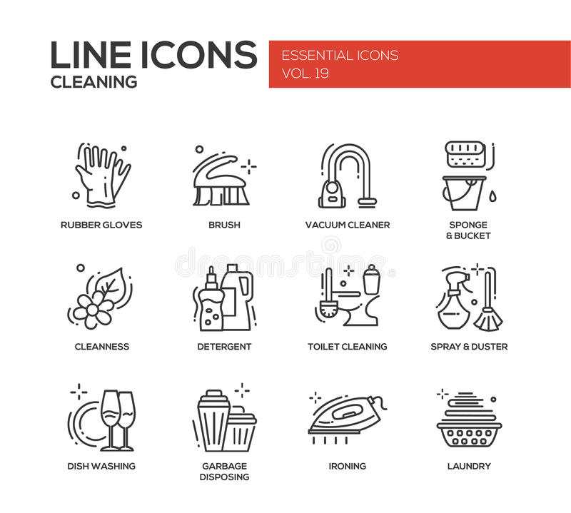 Free Cleaning - Line Design Icons Set Stock Images - 78623764