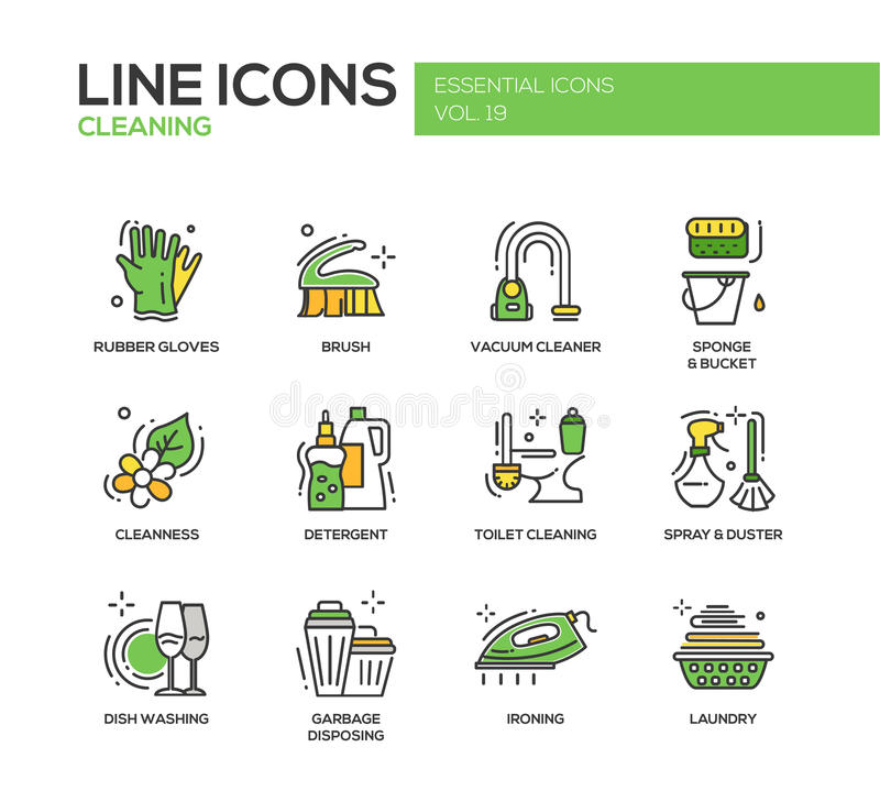 Free Cleaning - Line Design Icons Set Stock Photos - 78624573