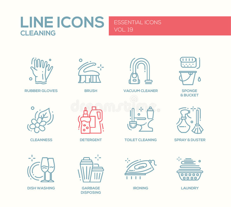 Free Cleaning - Line Design Icons Set Stock Image - 78624581
