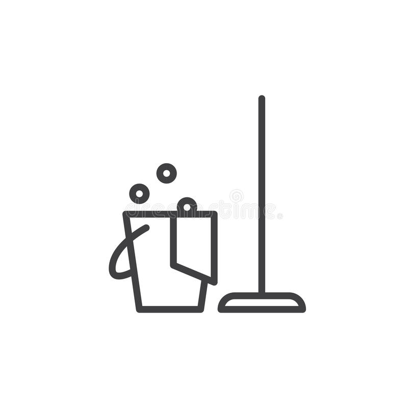 Cleaning line icon, outline vector sign, linear style pictogram isolated on white. Household symbol, logo illustration. Editable stroke. Pixel perfect graphics stock illustration