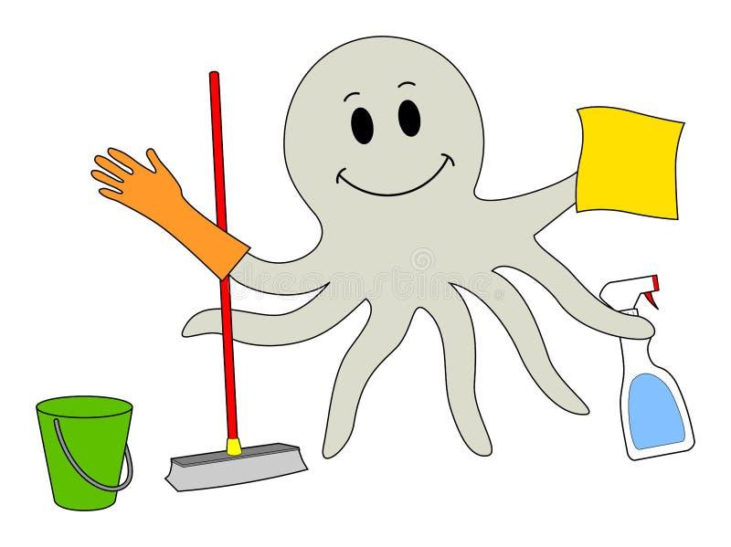 Cleaning ośmiornica royalty ilustracja