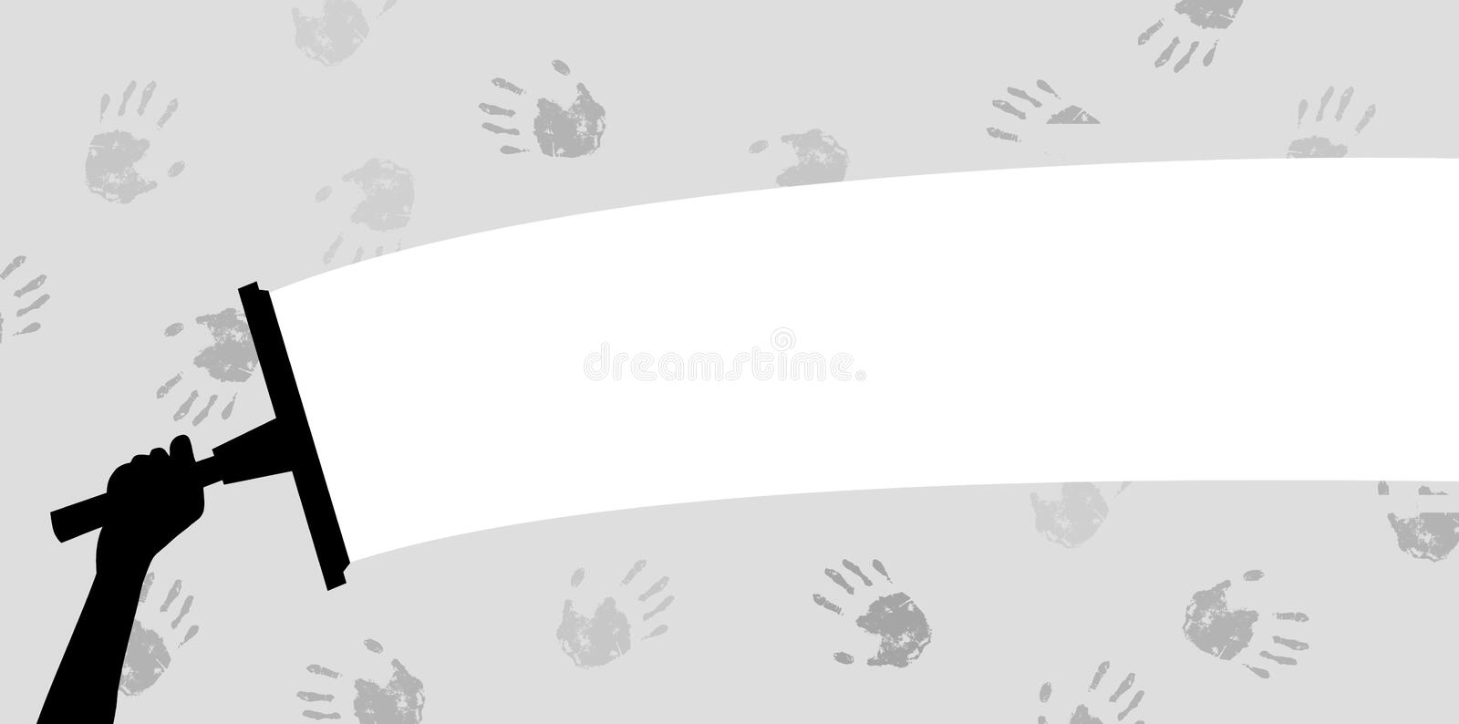 Cleaning off handprints vector illustration