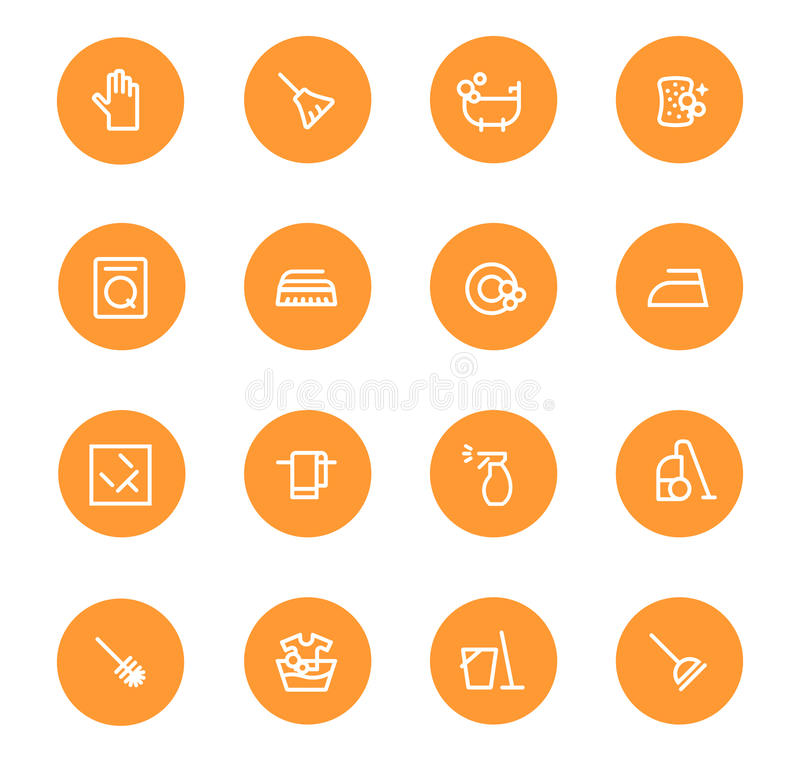 Cleaning orange mugs.eps. Cleaning the house, to iron, to wash, to wash the dishes.Orange Flat design concepts for web banners, web sites, printed materials stock illustration