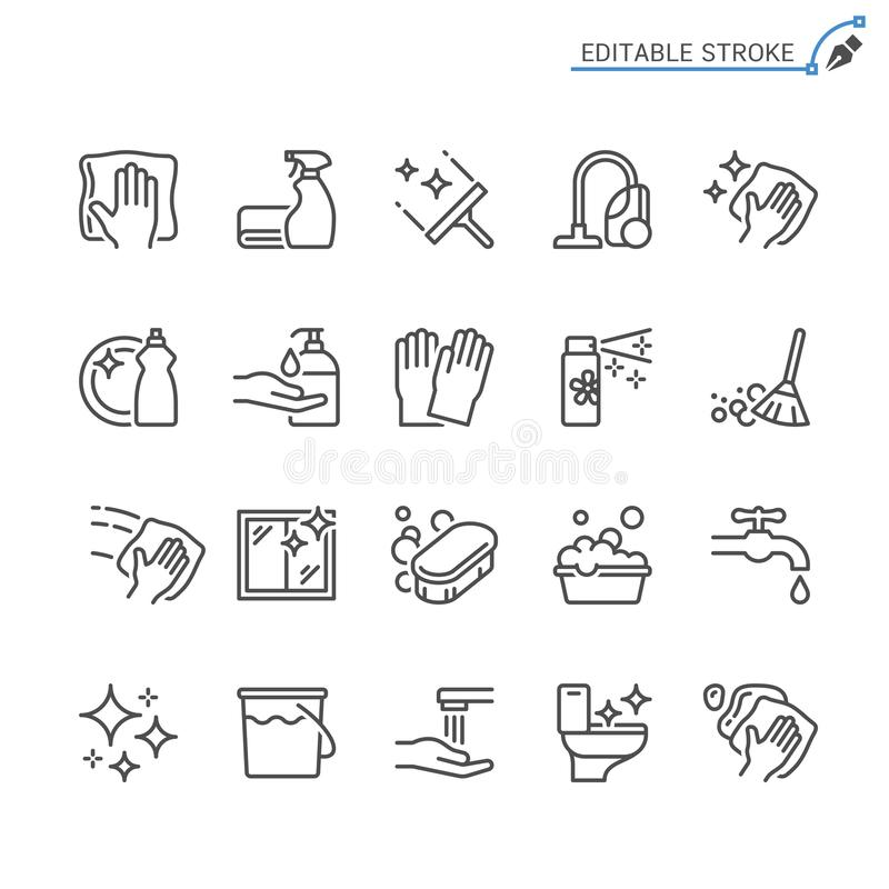 Free Cleaning Outline Icon Set Royalty Free Stock Photography - 130155337