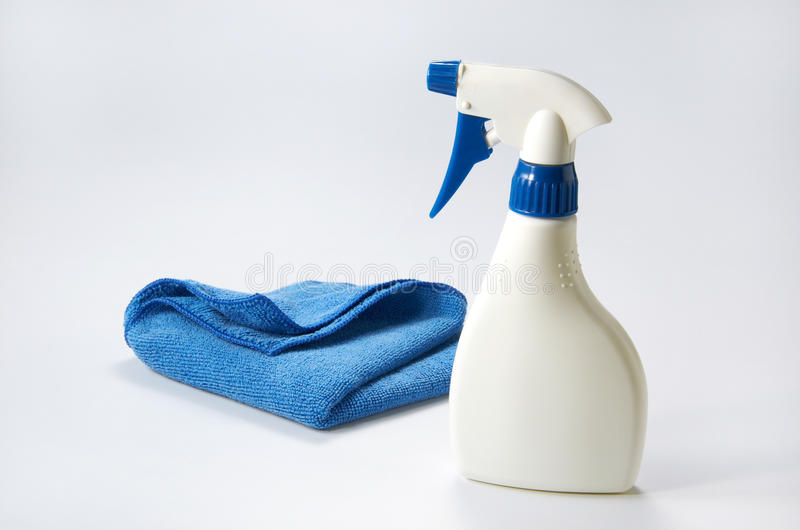 Cleaning Product. And cloth on clean background royalty free stock photos