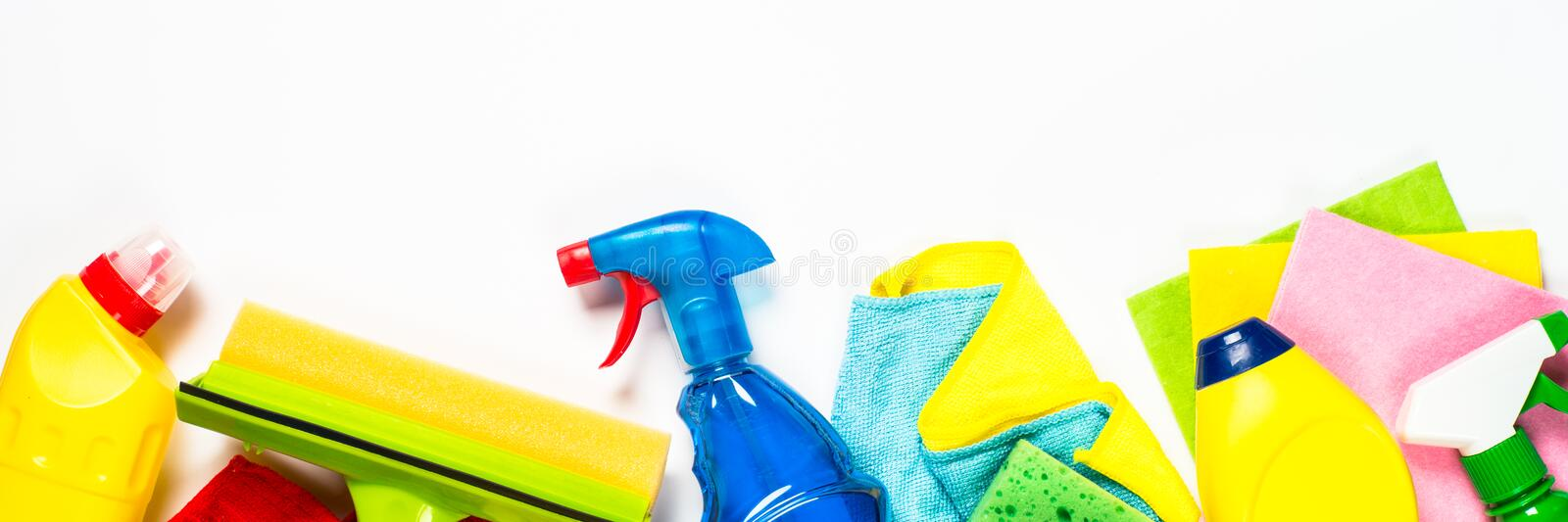 Cleaning product, household on white long format. Cleaning product, household, sanitary supplies on white background. Long banner format good for web with space stock photo