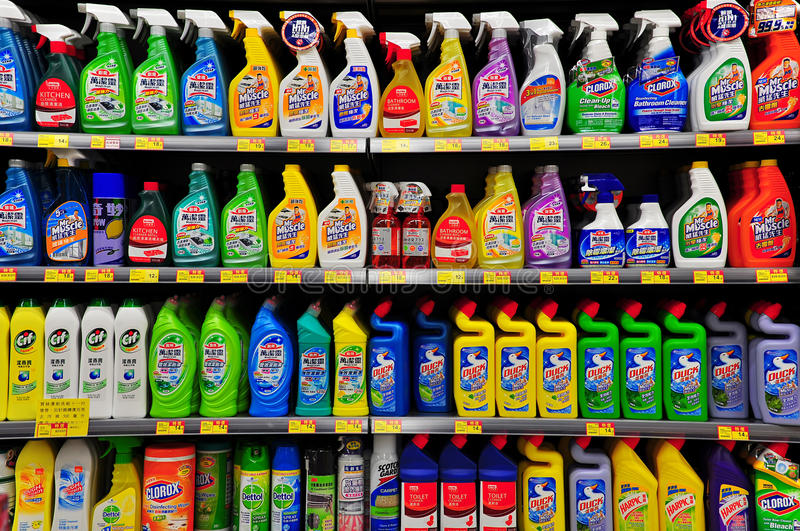 Cleaning products at supermarket stock photos