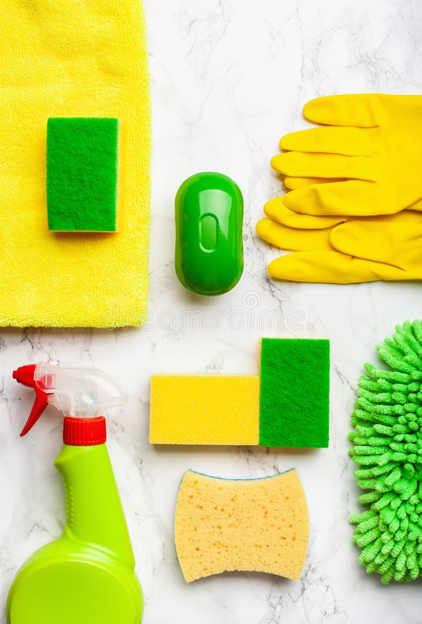Cleaning products household chemicals spray brush sponge glove stock image