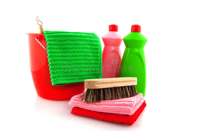 Download Cleaning Products With Red Bucket Stock Image - Image: 9514817