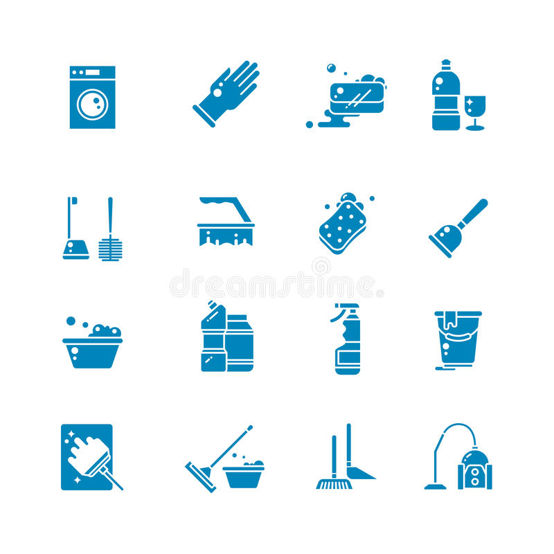 Download Cleaning Products And Services Silhouette Vector Icons Washing Supplies Housework Black Symbols Stock