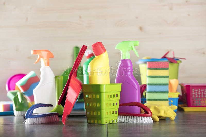 Cleaning products royalty free stock photo