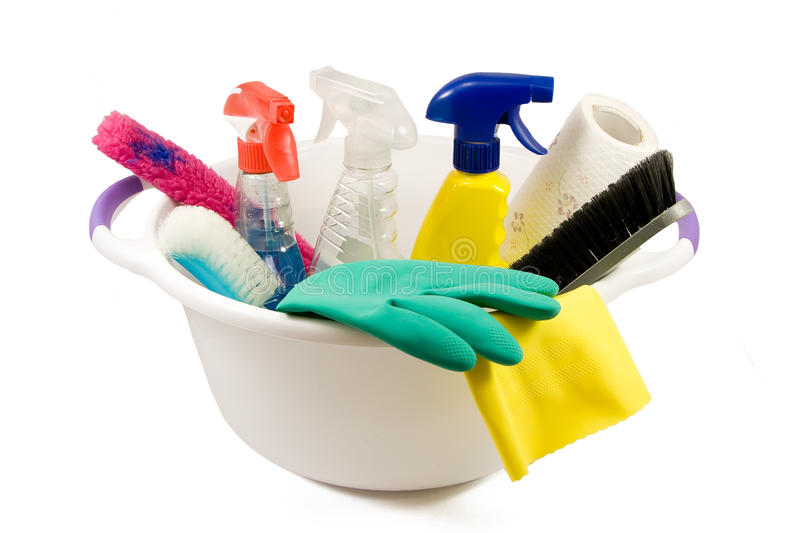 Cleaning products in small bucket stock photography