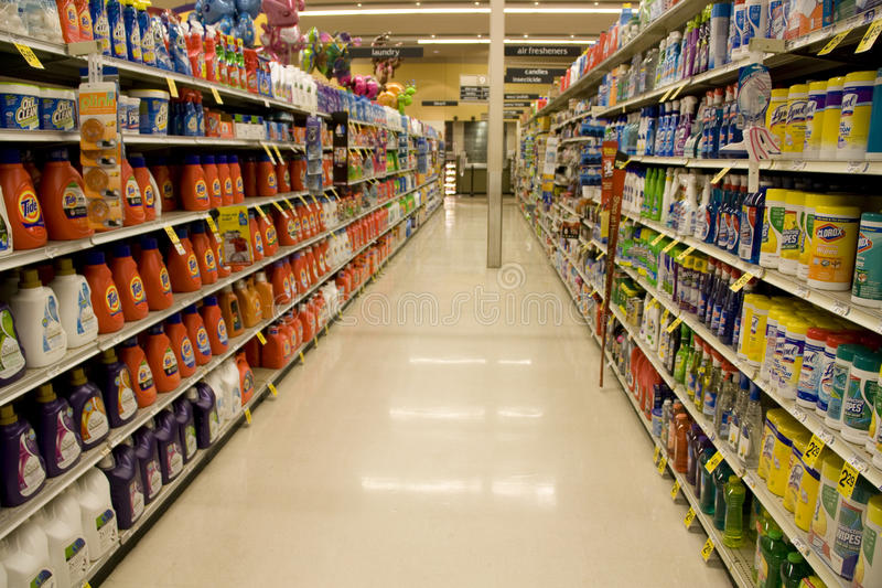 Cleaning products in supermarket stock photography
