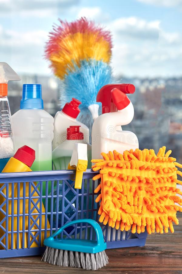 Cleaning products and supplies in basket. royalty free stock photos