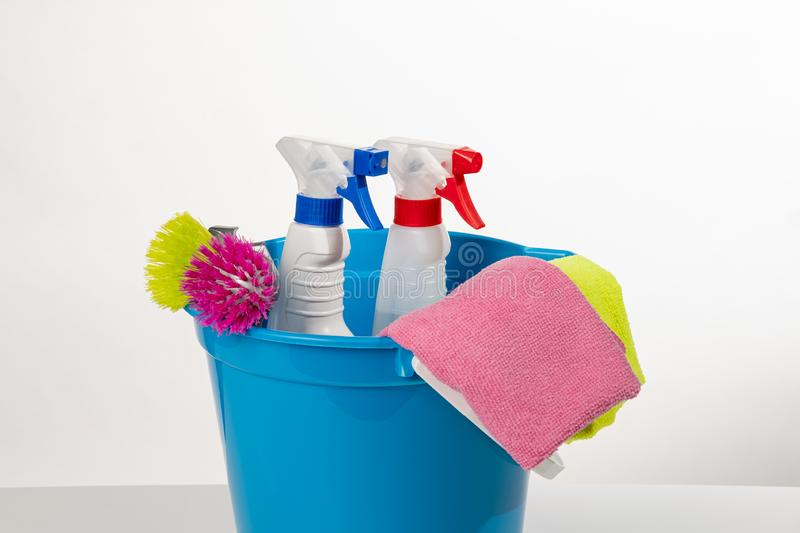 Cleaning products and tools royalty free stock photography