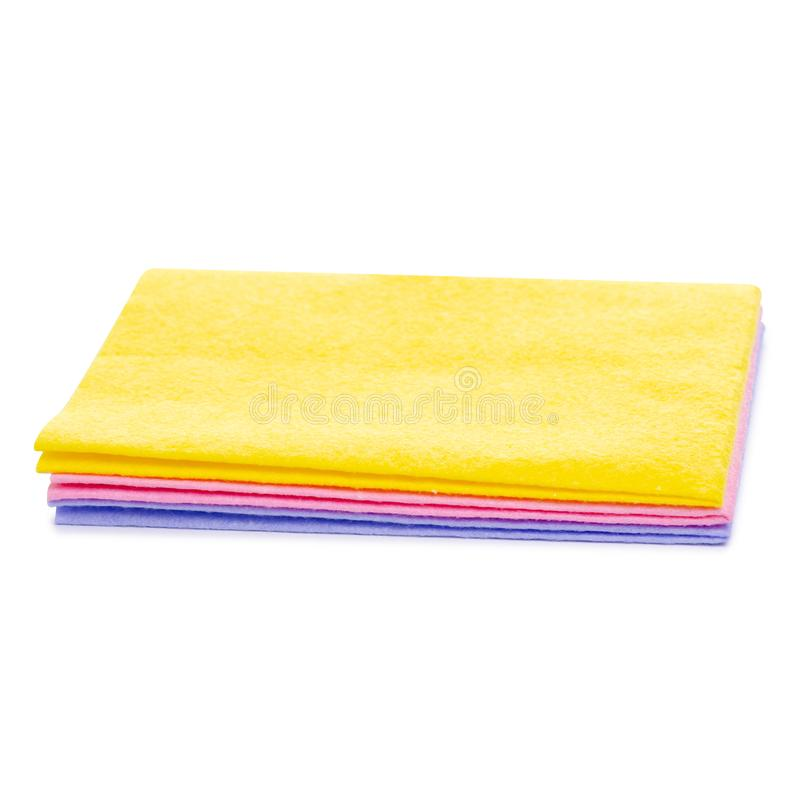 Cleaning rag color. On white background isolation stock image