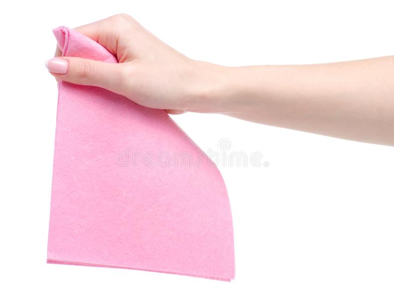 Cleaning rag in hand. On white background isolation royalty free stock images