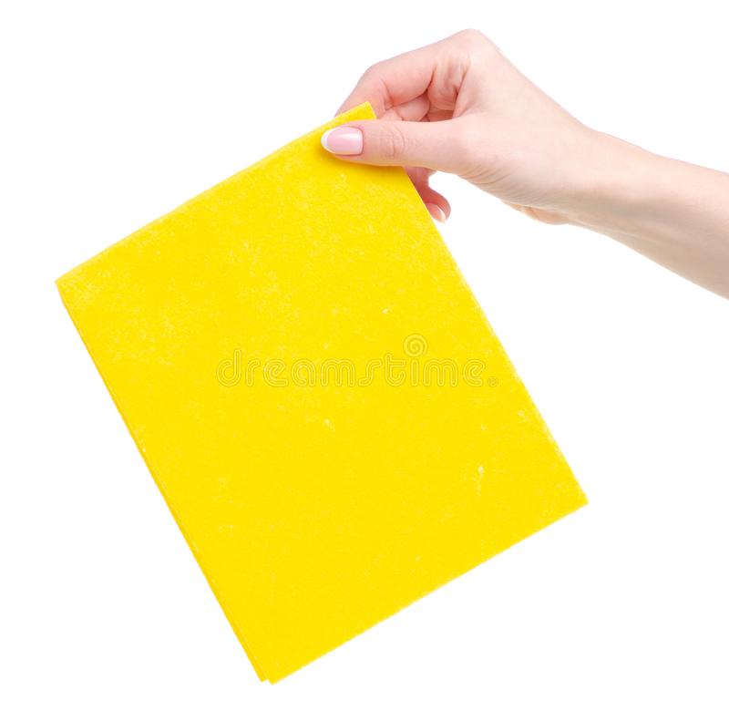 Cleaning rag in hand. On white background isolation stock photos