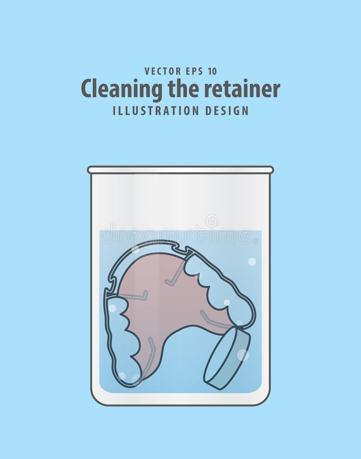 Cleaning the retainer in the glass with tablet illustration vector on blue background. Dental concept. stock illustration