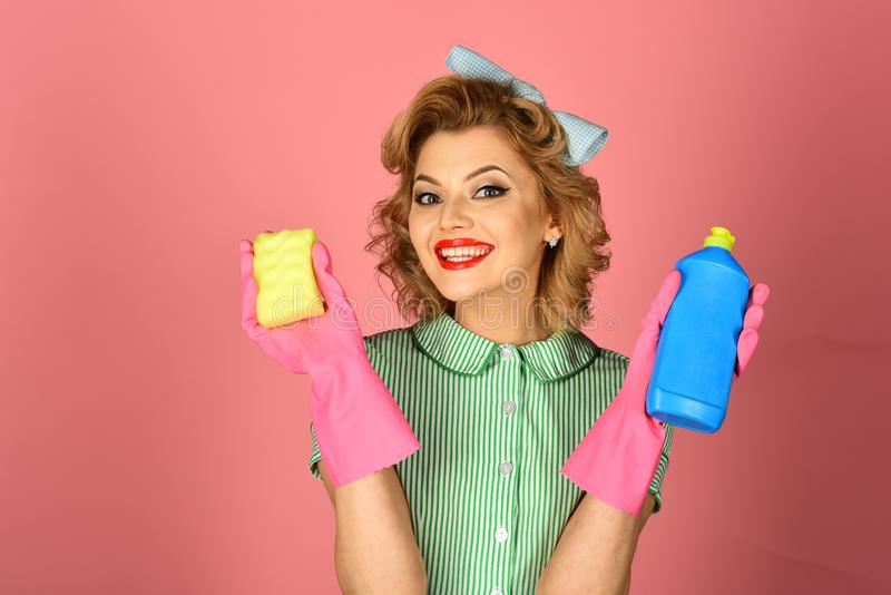 Cleaning, retro style, purity. royalty free stock images